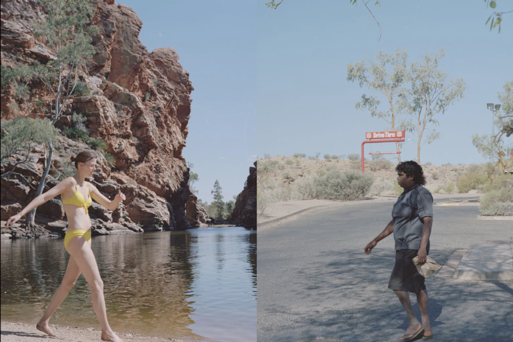 Ellery Creek big hole / Hungry Jacks carpark (converging landscapes with figures); Alice Springs, NT; 2014