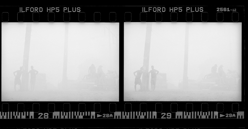 2x frames from proof sheet (cloud of smoke from burnouts); Summernats, Canberra; 2015