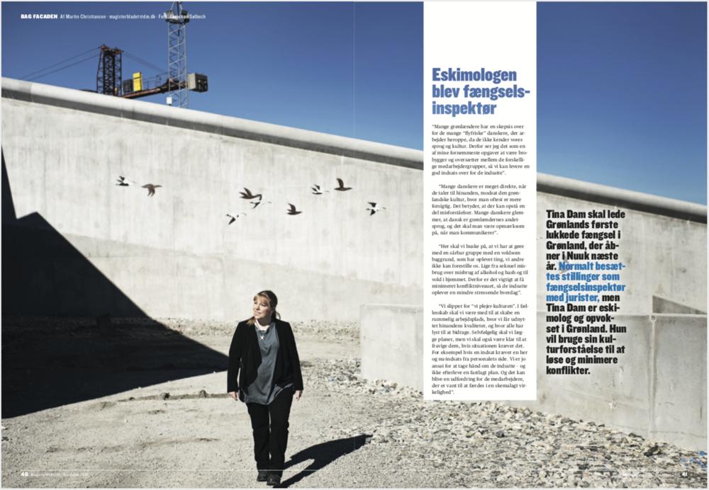 Tina Dam, Fængselsinspektør, Nuuk, for Magisterbladet