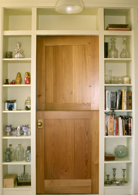 Dutch door with adjoining recessed shelf surround