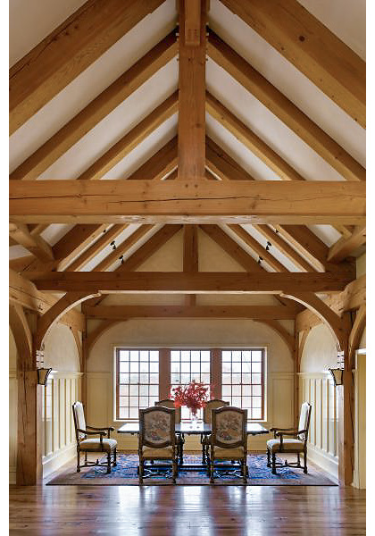 Solid oak post and beam construction.