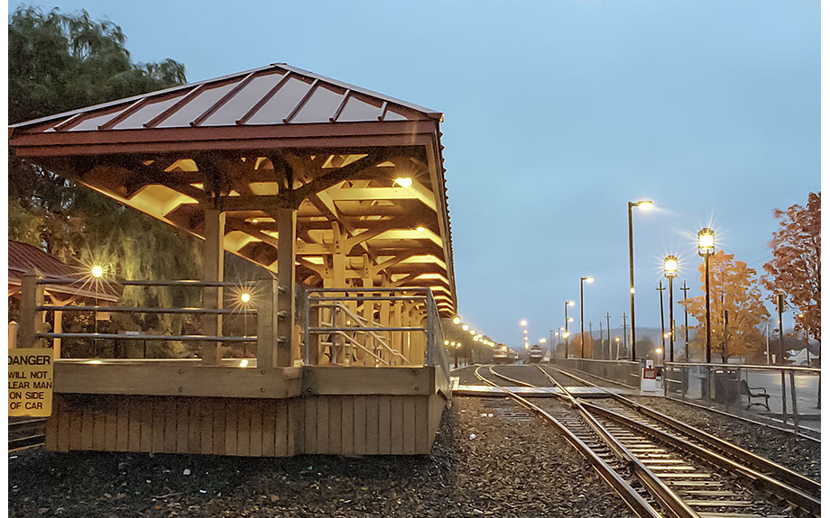 Timber frame train station