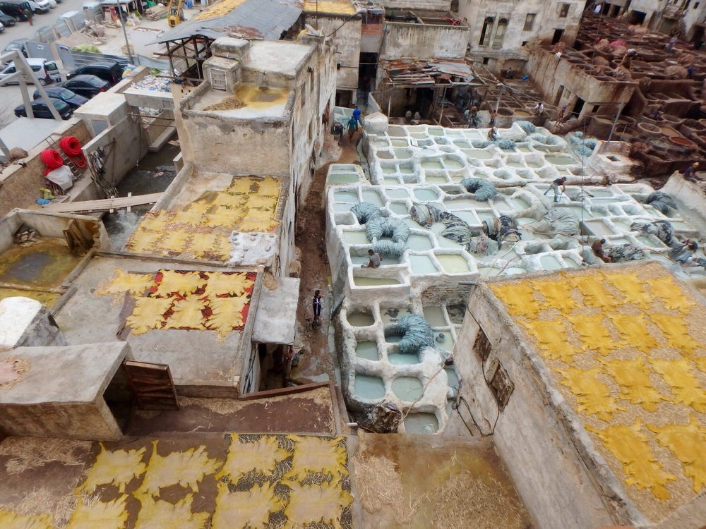 Leather goods are still made in the traditional fashion at this tannery in Fez.