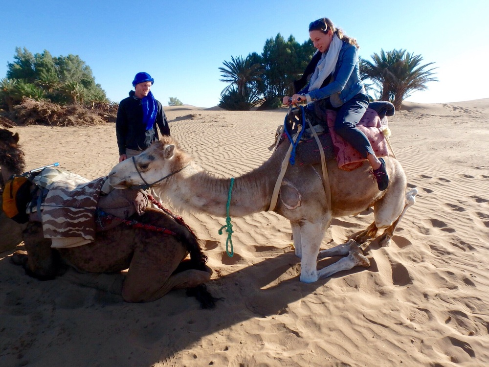 Trying not to fall as my camel stops with the caravan