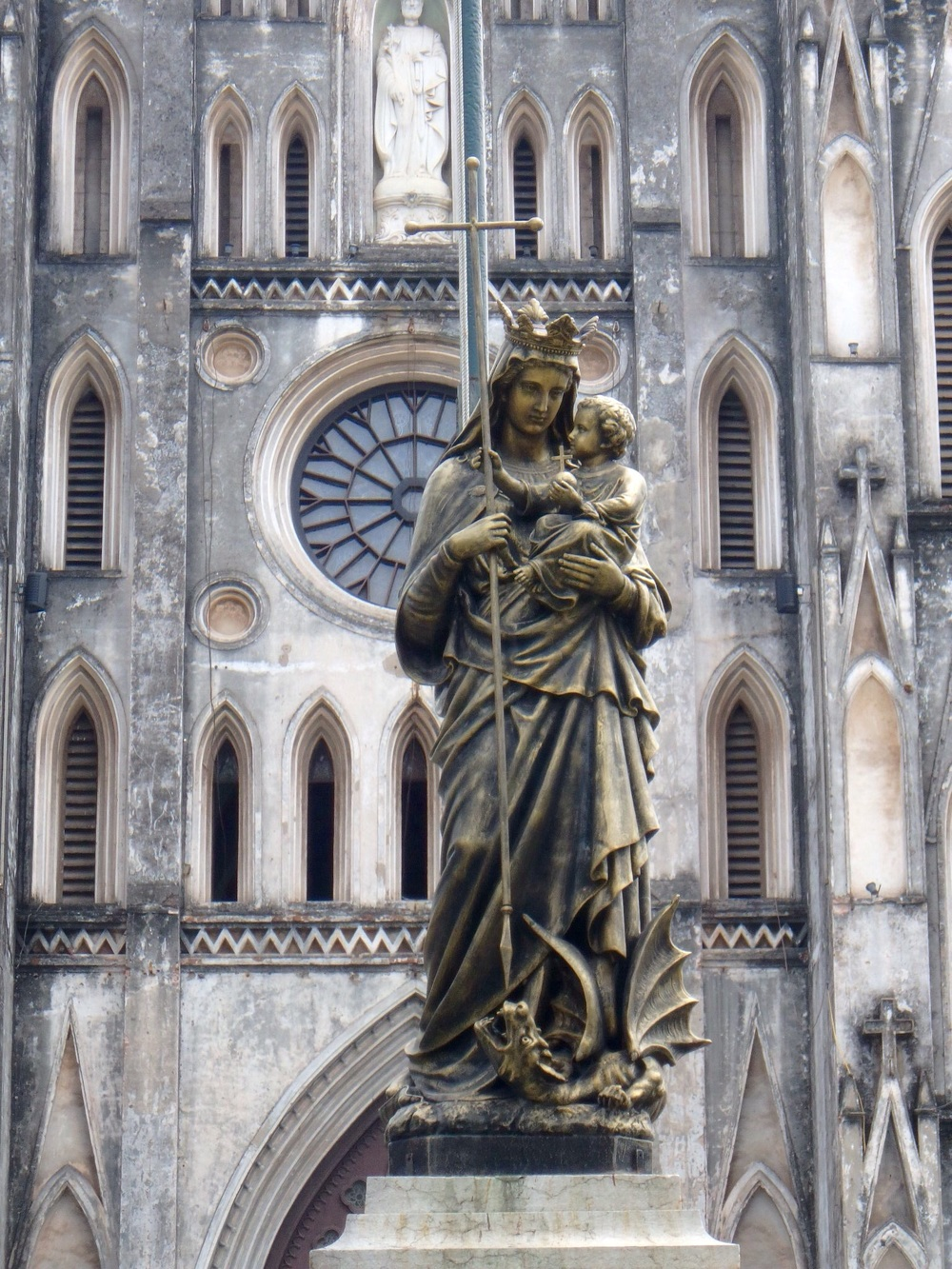 The Virgin Mary and Jesus statue outside the Notre Dame Cathedral look alike in Ho Chi Minh City. It's beautiful but much smaller and less ornate than the Paris original.