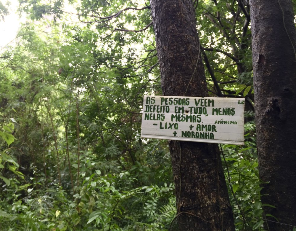 """People see the defect in everything, except for themselves."" Less trash, more love, more Noronha.   Signs like these were hung all over the island, talking about preserving nature or ruminating on life in general."