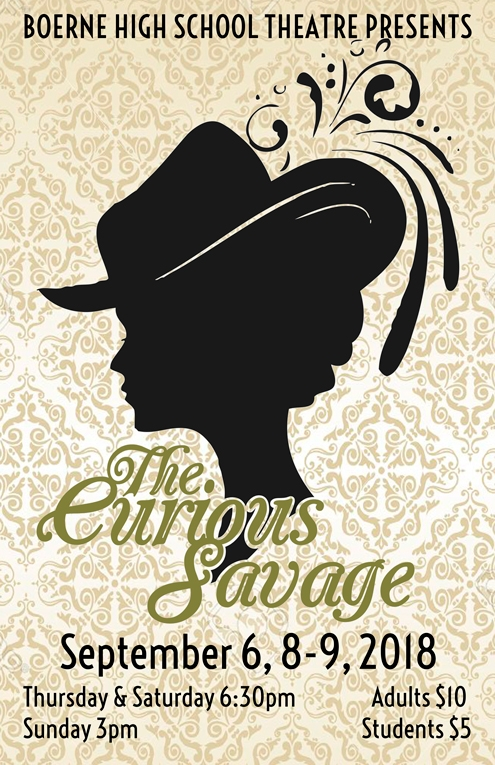 "The Curious Savage   by John Patrick  Show Dates: Sep 6, 8-9, 2018  An entertaining and fanciful comedy, and one of our most successful plays of all time! Mrs. Savage has been left ten million dollars by her husband and wants to make the best use of it, in spite of her grown-up stepchildren's efforts to get their hands on it. Knowing that the widow's wealth is now in negotiable securities, and seeing they cannot get hold of the fortune, the stepchildren commit her to a sanatorium hoping to ""bring her to her senses."" In the sanatorium Mrs. Savage meets various social misfits, men and women who just cannot adjust themselves to life, people who need the help Mrs. Savage can provide."