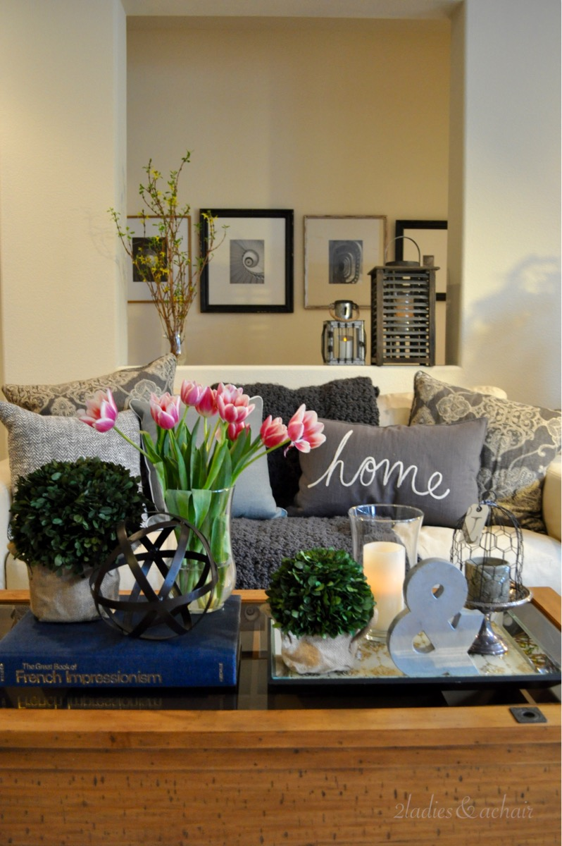 We Love The Atmosphere Of Bringing A Bit Of The Outdoors Inside. We 2  Ladies Are Loving The Accent Pieces We Picked Up For This Coffee Table At  HomeGoods To ...