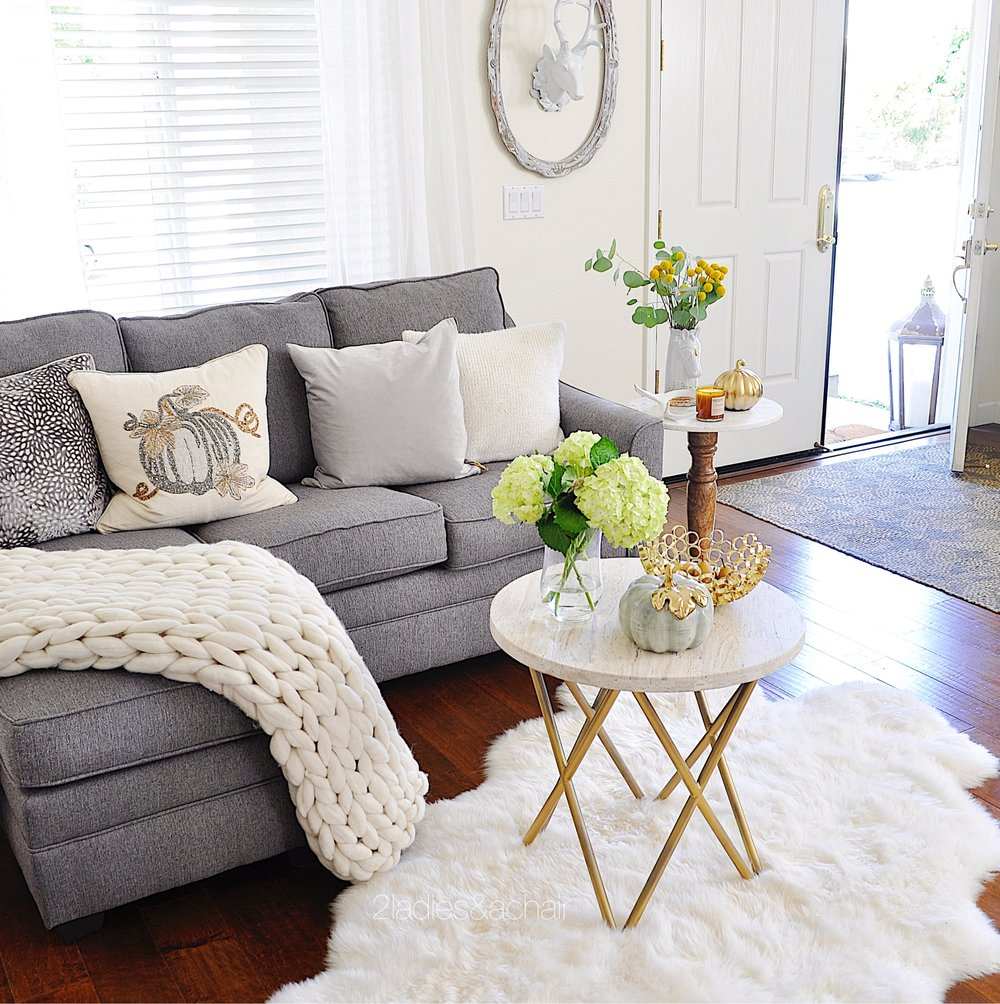 Neutral living room decor for fall 2 ladies a chair for Neutral living room decor