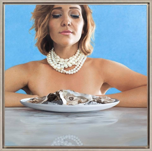 "Nadine Robbins Stay Calm and Eat Oysters - 24""x24"""