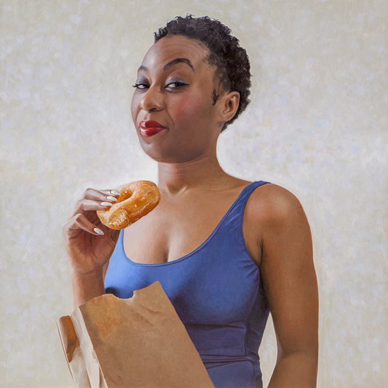 "Runnin on Dunkin - 24"" x 24"" - Oil on linen - Available"