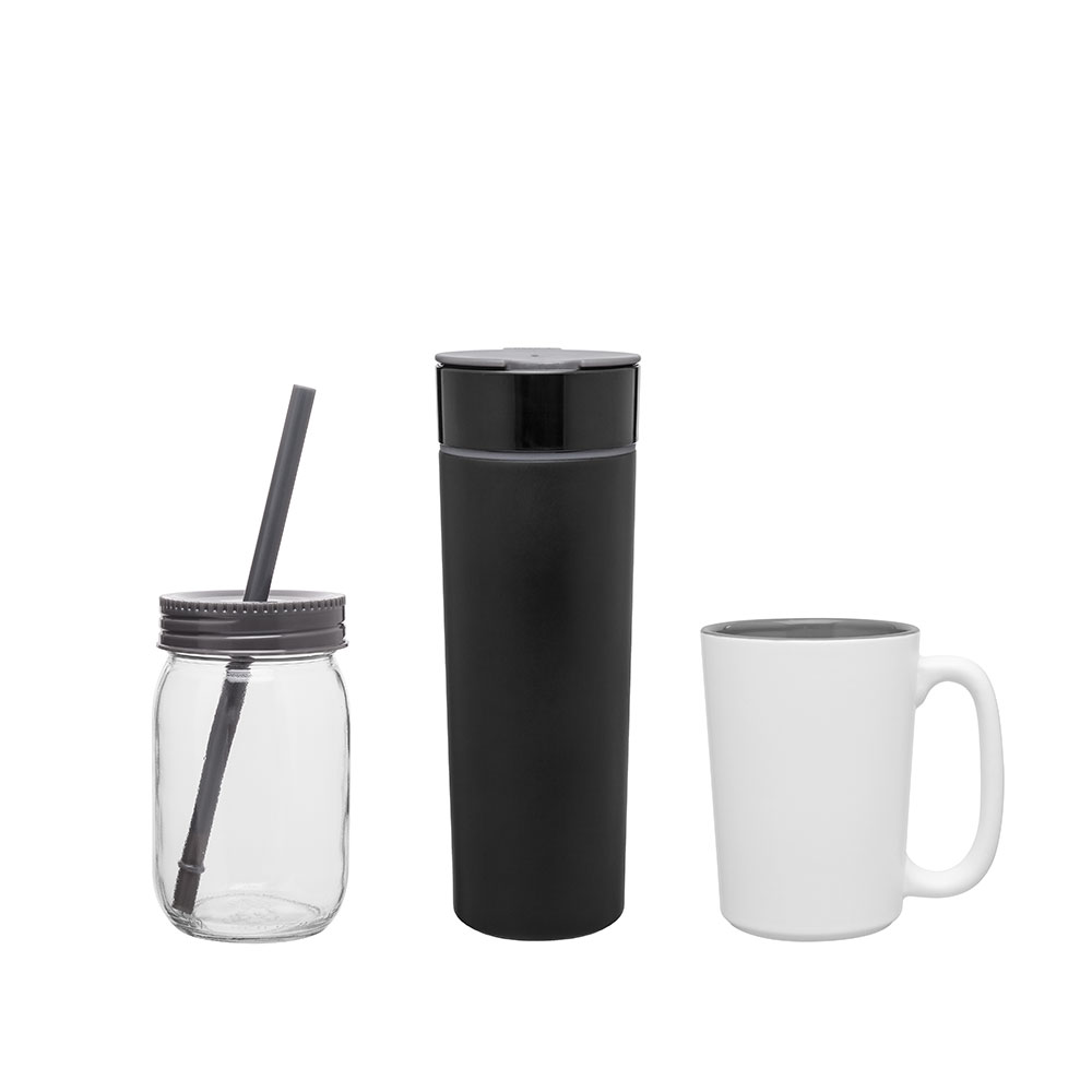 Custom grey drinkware