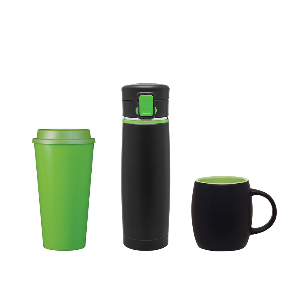 Green customized drinkware