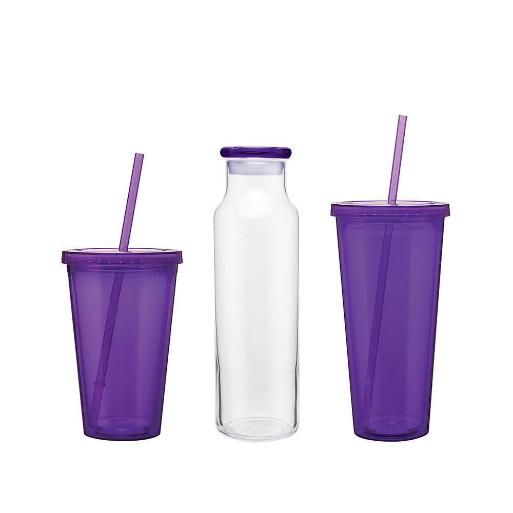 Customized purple drinkware