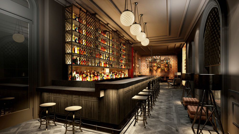 The European Bar & Lounge, interior rendering by UXUS