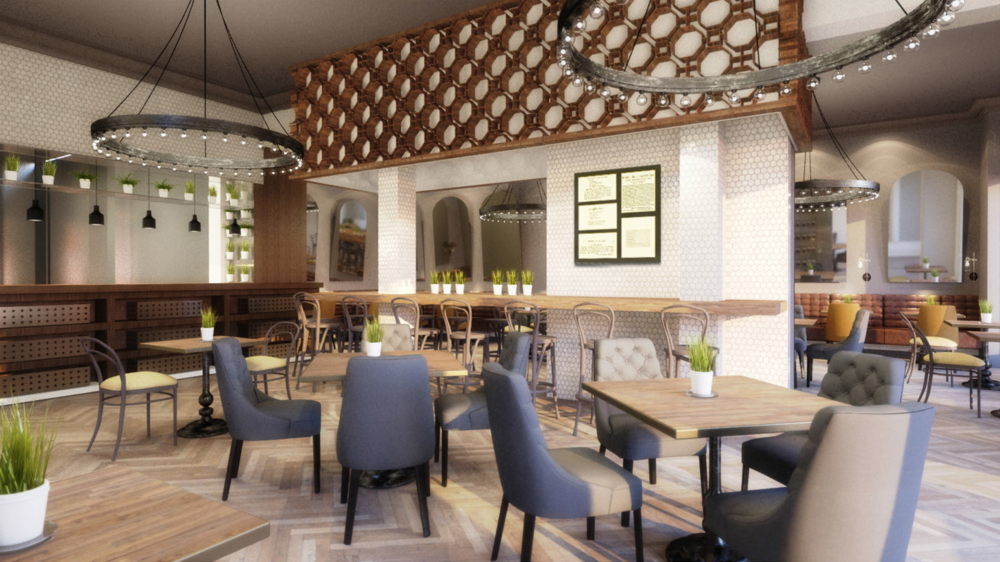Aveline restaurant interior, rendering by UXUS