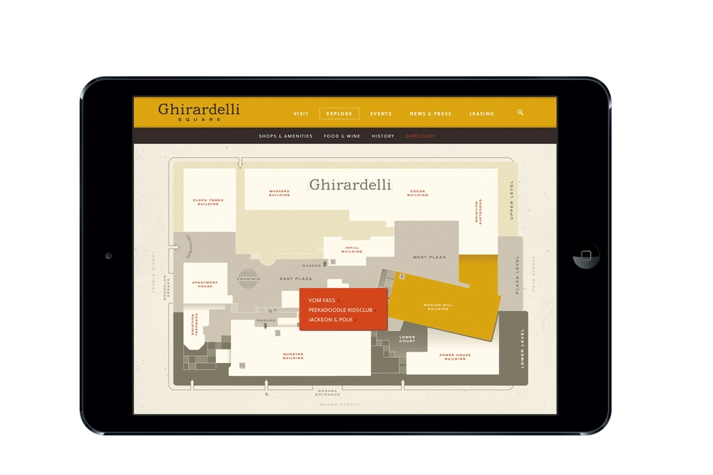 Interactive site directory allows viewers to find the right level of detail that they need on each of the retail shops and restaurants at Ghirardelli Square.