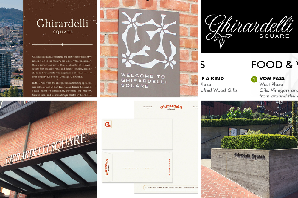 Above / A smattering of brand expression on signage, marketing collateral. Below /A section of the previous website.