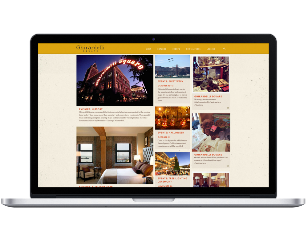 "The home page features three columns of ""endless"" rich content — Ghirardelli Square retailers and history featured on the left, events in the middle, and images from the Square's Instagram feed in the right column all give the home page an ever-changing mix of ways to explore the site."