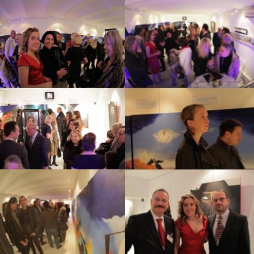 Art Exhibition in Monaco - Opening Reception. Daniel BOERI, the gallerist, Caroline BERGONZI, and Jean-Laurent TERRAZONI, representing the sponsor.