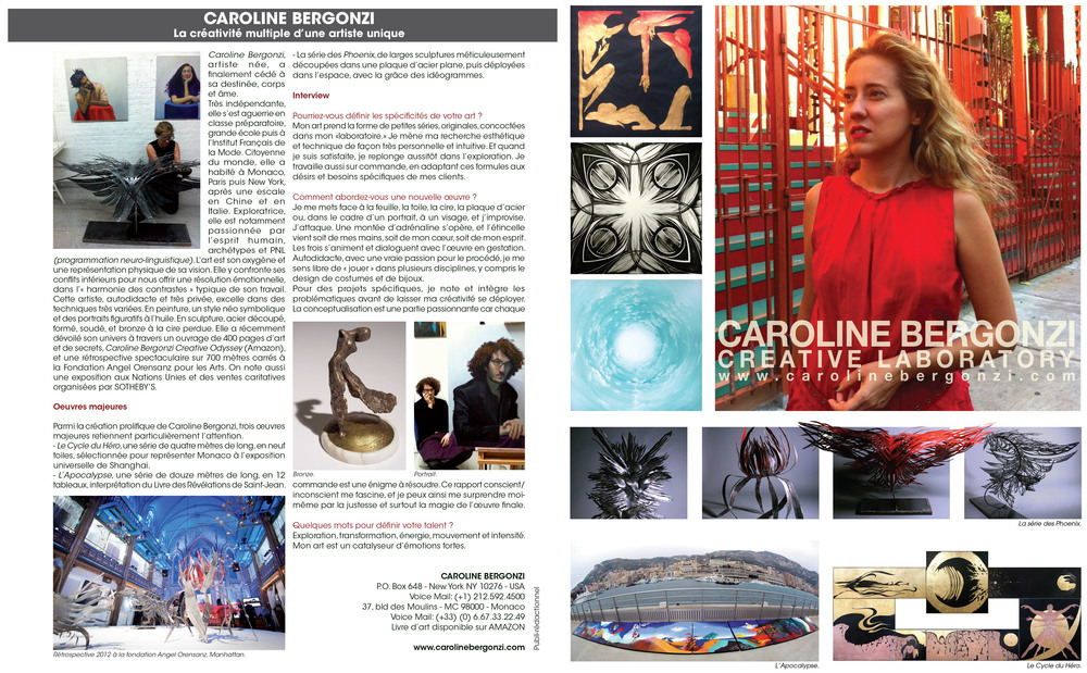 Maison & Jardin magazine, summer issue, with a special on Monaco.   Double page about artist Caroline Bergonzi.