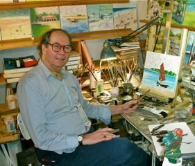 Todd Bowman Ash in his studio in Nauset Heights.