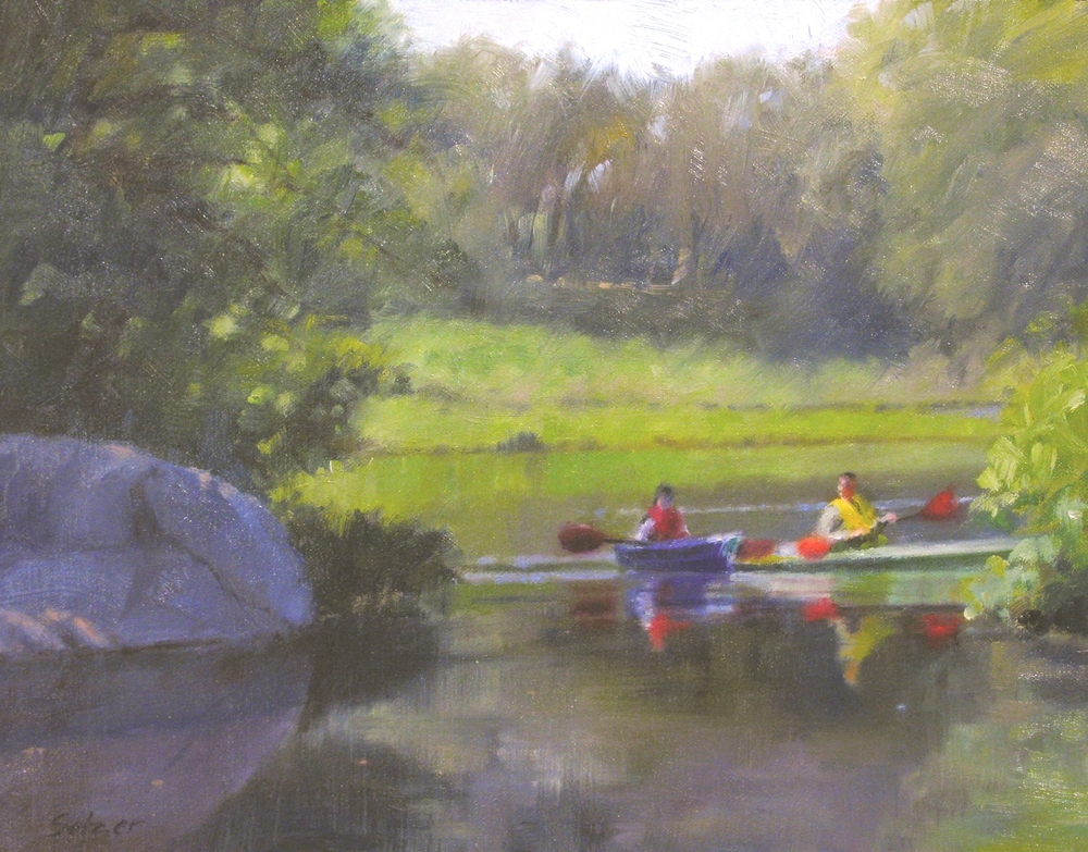 Mill Pond Kayaks  oil  11 x 14  Philip Selzer  $900