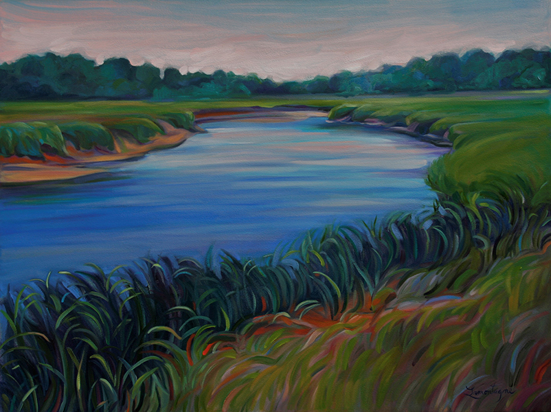 Flowing   36 x 48 oil $2800  The scene is a place called Boat Meadow on Bridge Road in Eastham, MA.