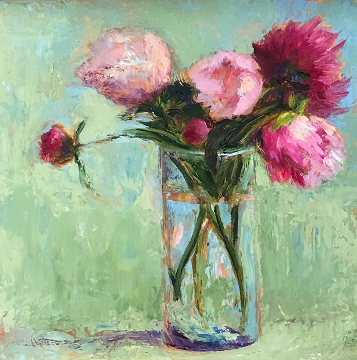 Peonies  12 x 12 oil with painting knife    SOLD   This is part of a series. Similar paintings are available upon request.