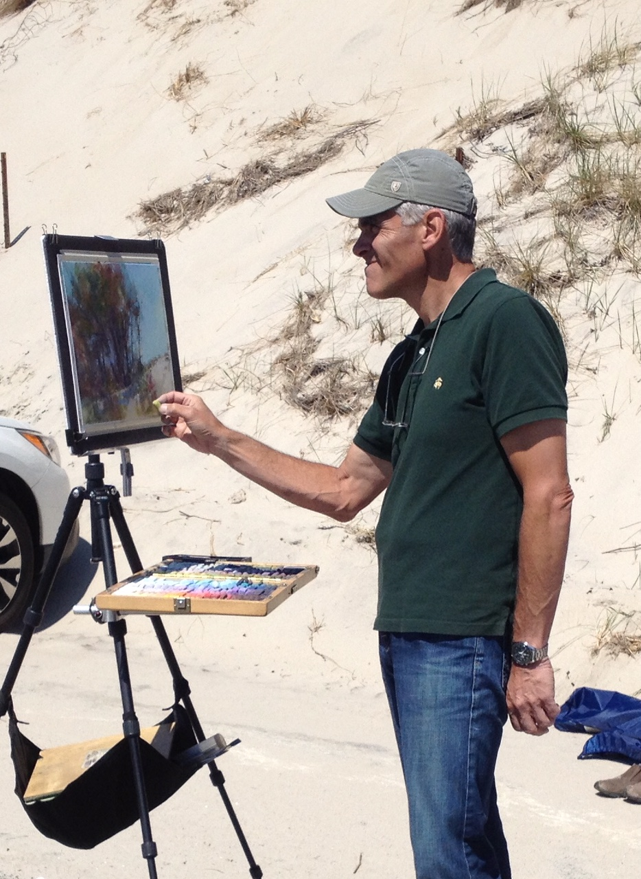 Richard McKinley paints a demo in pastel at Chapin's Beach on Cape Cod.
