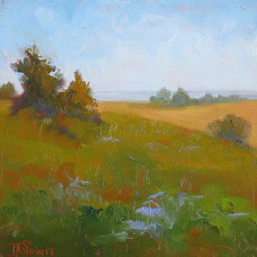 August Meadow   6 x 6 Oil  / $275