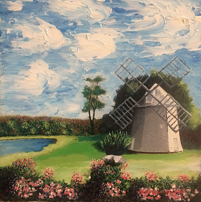 Windmill on Town Cove, Orleans    Oil 12 x 12   $350