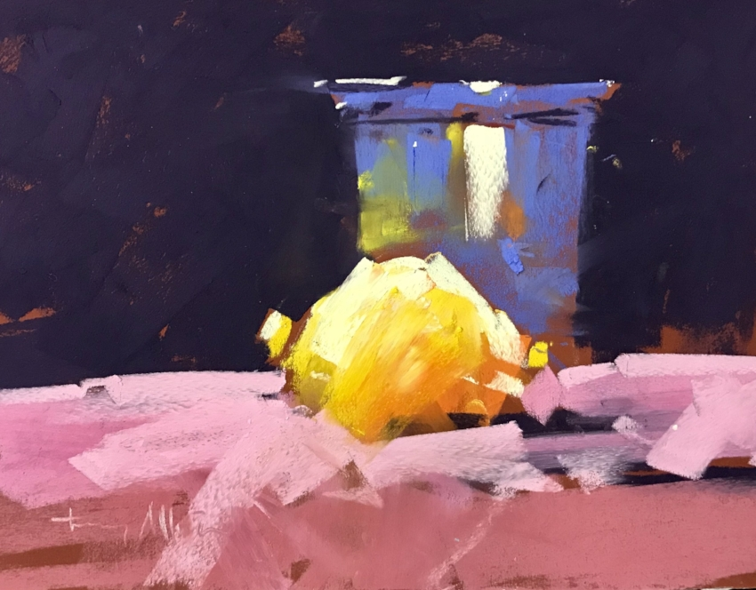 Lemon and Beaker   8 x 10 Pastel by Tony Allain / $600