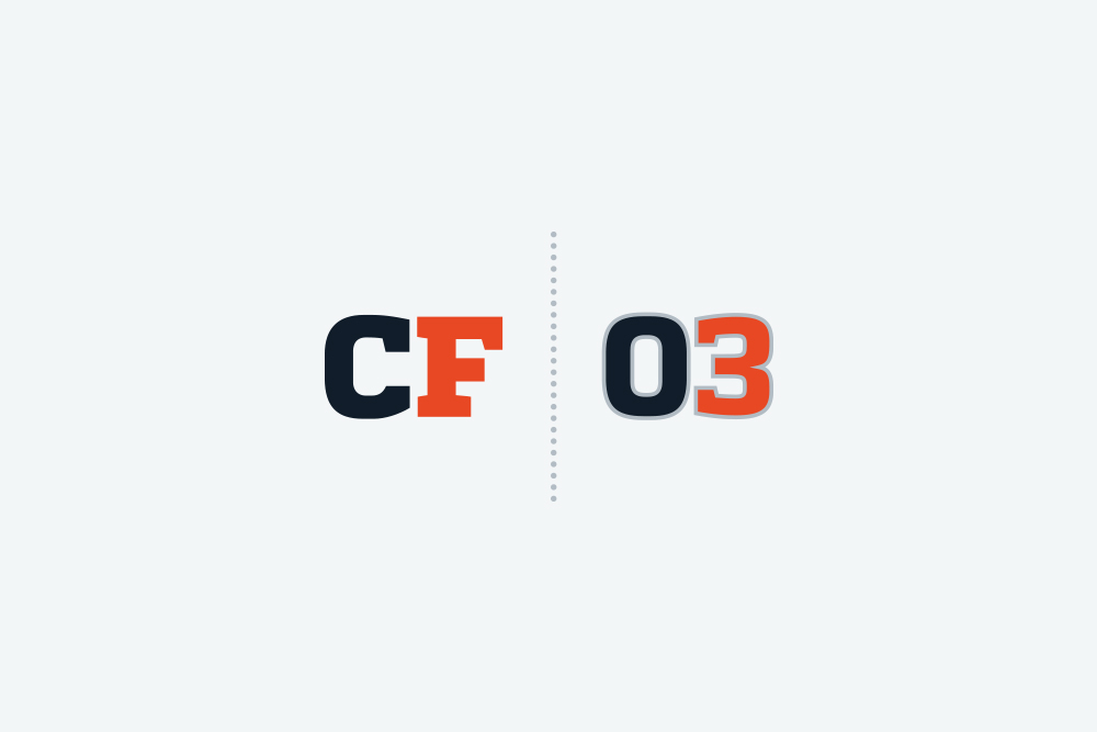 """This is a logo concept intended intended to supplement either the Final or Version 1. In the same way that Washington Redskins quarterback Robert Griffin III has the nickname """"RG3,"""" I thought it would be fitting to design a graphic using """"CF3."""""""