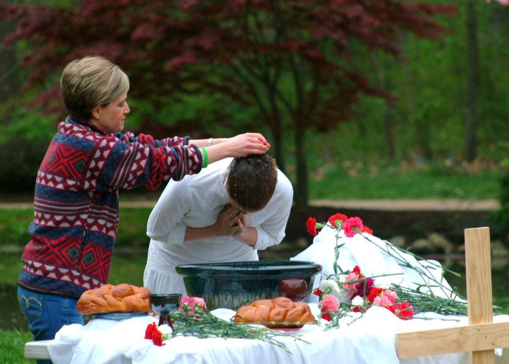 Rin Barton is baptized at our Easter Sunrise Service at the JMU Arboretum.