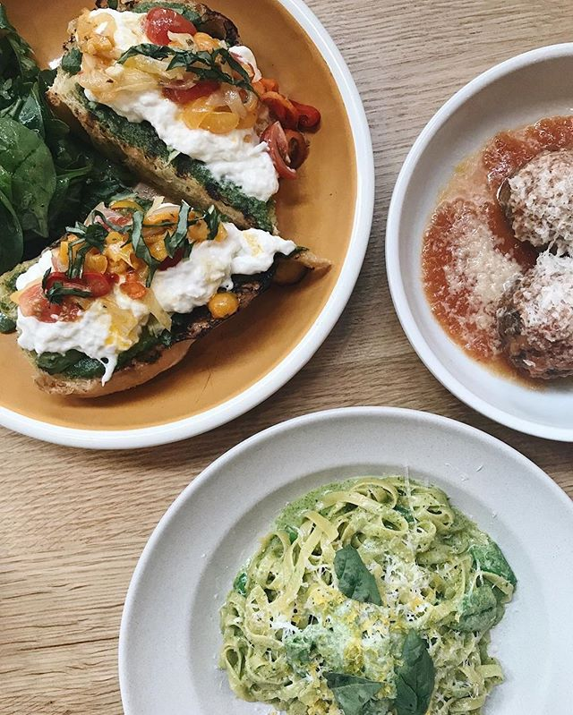 Avocado + Burrata Toast, Classic Meatballs, and Tagliatelle pasta goodness from @_the_mighty_