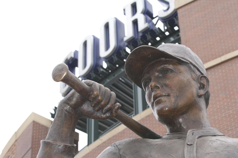 Coors field baseball statue