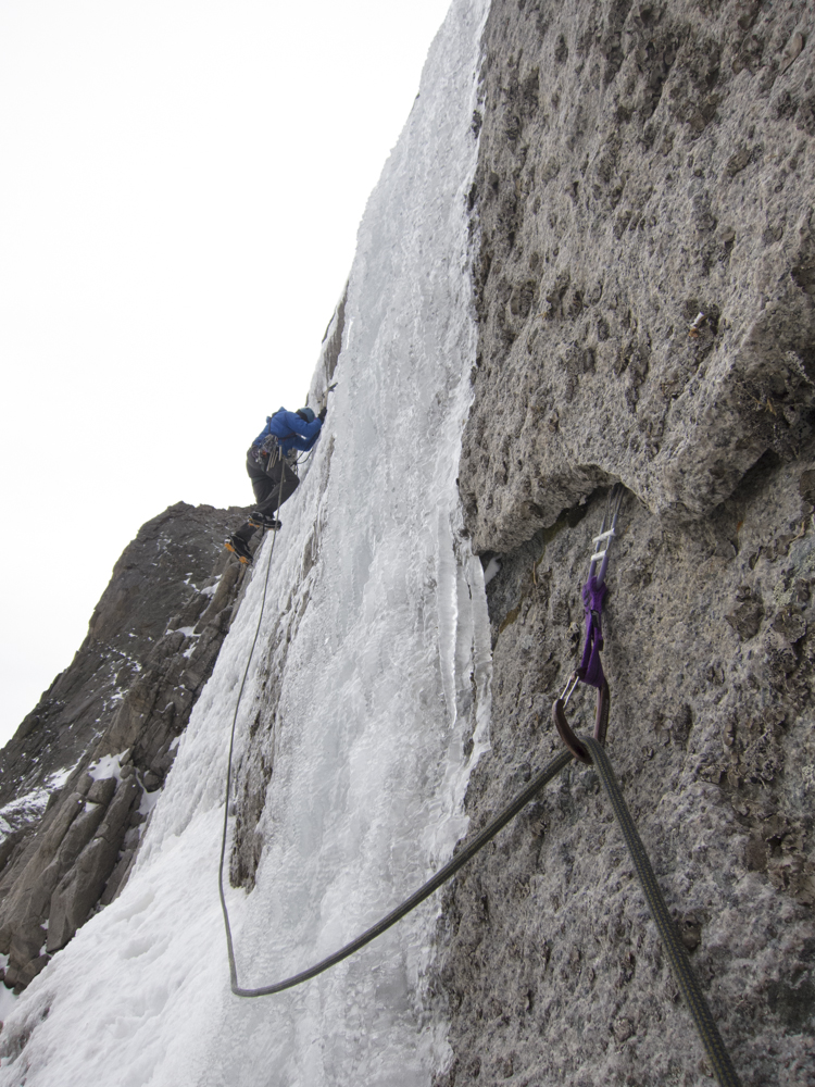 Kevin Cooper starting the runout on the second pitch of the Smear of Fear. The climb lived up to its name yesterday.