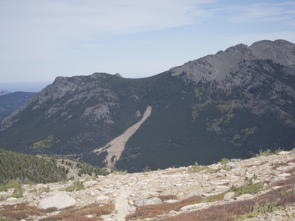 The huge landslide scar on Twin Sisters from the 2013 floods.