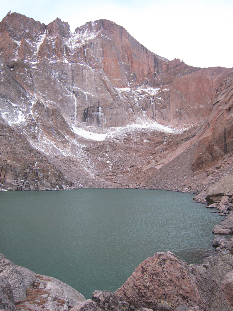 Note the color of Chasm Lake after the floods washed debris and silt into it - too bad nobody can go there now.
