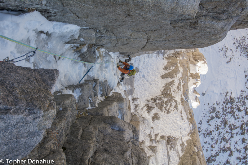 Sticky but cold ice and attention getting mixed climbing in Field's Chimney made up the first 600 feet.