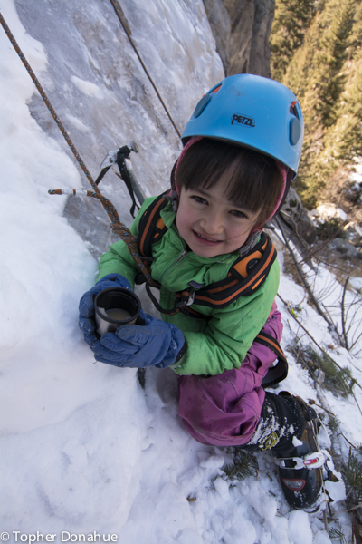 Then she discovered the best thing about ice climbing: tea with lots of honey in it!