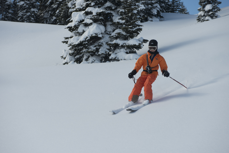 A wide open glade of 20 degree powder is all you need for a fresh tracks extravaganza. Although  helmets are not as common in the backcountry, cross country skiing or snow play, it's always smarter to wear one. The next time we went out, we took helmets.