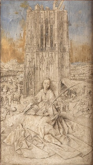"""Saint Barbara"" (1437), by Jan Van Eyck. Metalpoint, brush drawing, and oil on wood. Photo by Lukas Image Bank, Belgium. Koninklijk Museum voor Schone Kunsten, Antwerp, Belgium."
