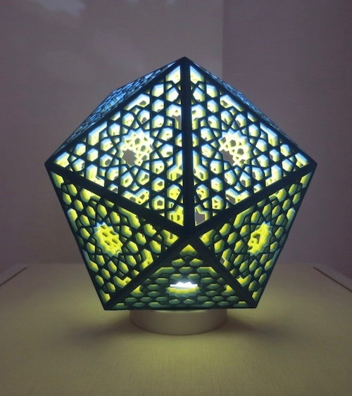 Screened Icosahedral Lamp (2013), by Phil Webster; 3D-printed plaster composite with LED light.