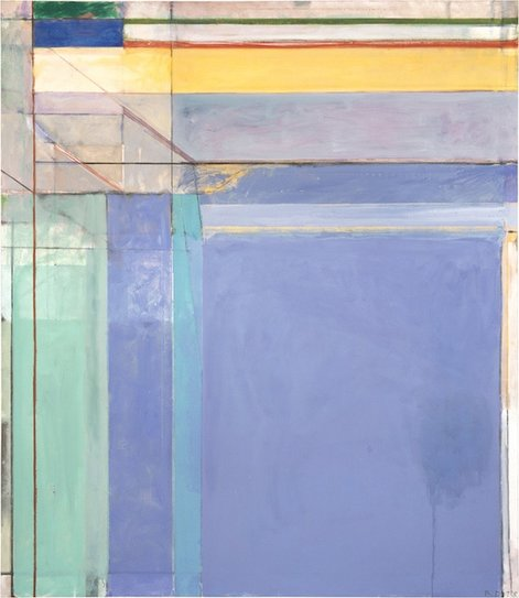 """Ocean Park #79 (1975), by Richard Diebenkorn. Museum of Modern Art, Fort Worth, Texas. ©The Estate of Richard Diebenkorn. Source: http://www.themodern.org/ocean-park-79"