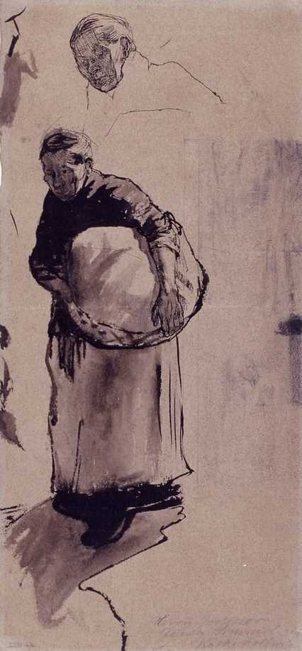 """Frau, Korb tragend (before 1918), by Käthe Kollwitz. Source: https://commons.wikimedia.org/"