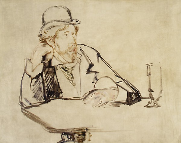 """George Moore (1852–1933) at the Café"" (1878 or 1879), by Édouard Manet. The Met Breuer, New York."