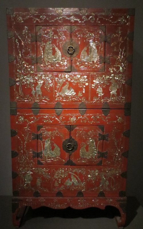 Two-tiered chest with stand, 1800-1850 (Joseon dynasty, 1392-1910). Lacquered wood with inlaid mother-of-pearl and metal fittings. Asian Art Museum, San Francisco.