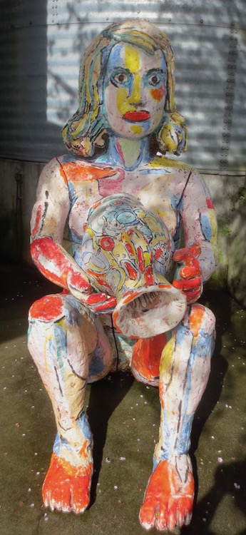 Seated Woman with Vase  (1998), by Viola Frey. Ceramic. Outside Gatehouse Gallery.